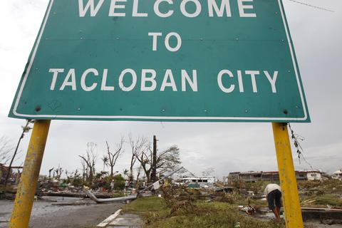 A welcome sign is seen at the entrance of battered Tacloban city after super Typhoon Haiyan battered the central Philippines Nov. 9.