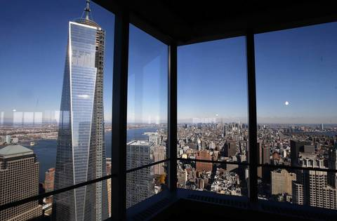 A view of the One World Trade Center tower and the Manhattan skyline as seen from the 68th floor of the soon-to-be opened 4 World Trade Center tower in New York. 4 World Trade center sits at the south east corner of the World Trade Center site and will be the second tower to open on the site since the 2001 attacks on the World Trade Center.