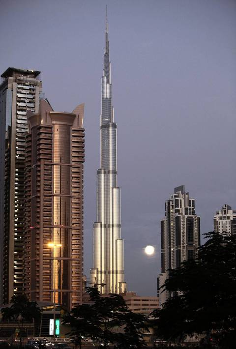 No. 1 Burj Khalifa in Dubai, UAE. The tower, which was designed Chicago architect Adrian Smith, is 2,717 feet -- the tallest free-standing structure on Earth.