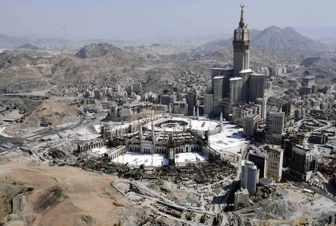 No. 2 Clock Tower and the Grand Mosque in the holy city of Mecca, Saudi Arabia stands at 1,972 feet.