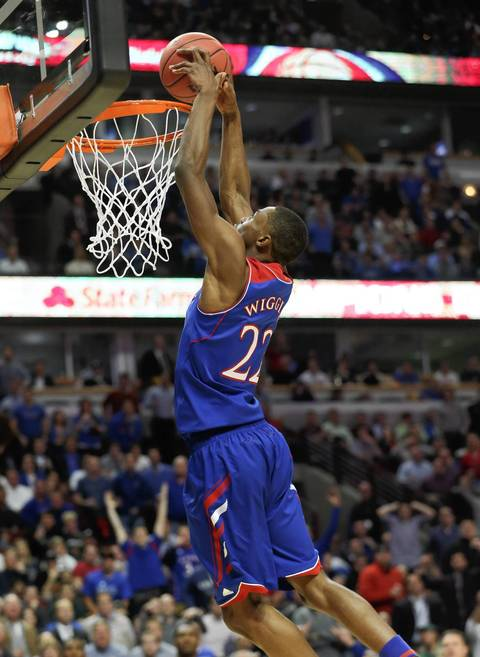 Kansas guard Andrew Wiggins dunks during the second half.