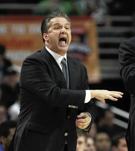 Kentucky coach John Calipari yells instructions to his players.