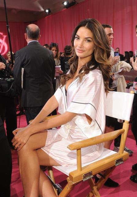 Model Lily Aldridge poses at the 2013 Victoria's Secret Fashion Show hair and make-up room at Lexington Avenue Armory on November 13, 2013 in New York City.