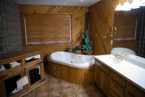 The bathroom in Rita Crundwell's personal home is a mix of wood, glass blocks and animal hide.