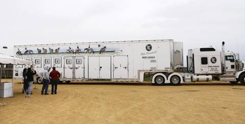 A horse trailer parks during a preview of the upcoming live auction at the Rita Crundwell ranch in Dixon. The vehicle will be auctioned along with other trailers this weekend. Crundwell is charged with stealing $53 million from city coffers.