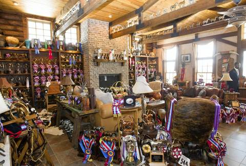 A welcoming area and trophy room of the horse ranch of former Dixon comptroller Rita Crundwell.