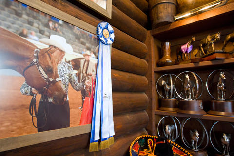 A picture of Rita Crundwell was among hundreds of awards on display at the horse ranch of the former comptroller in Dixon.