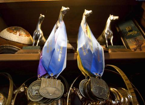 Awards on display at the horse ranch of former Dixon comptroller Rita Crundwell.