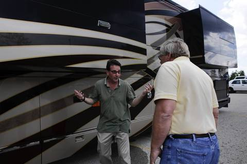 A luxury motor home belonging to Rita Crundwell, the former comptroller and treasurer accused of stealing millions from Dixon, Ill., at the Oak Creek Police Department in Oak Creek, Wisconsin. The 2009 Liberty Coach motor home is the first of Crundwell's assets to be put up for auction in a sealed-bid sale by the agency. The bids will start at $1 million.