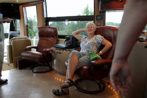 Jeanne Kuhn poses in for a picture in Rita Crundwell's motor home at the Oak Creek Police Department in Oak Creek, Wisconsin.