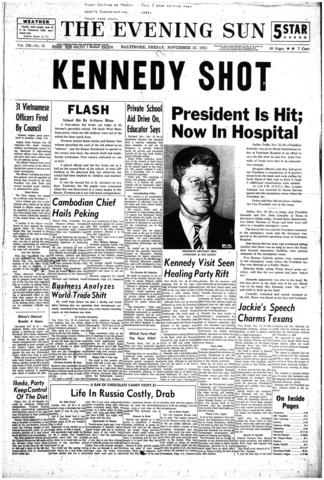 A front page of The Evening Sun from Nov. 22, 1963, with early news of Kennedy's shooting.