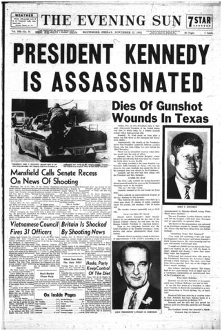 A front page of The Evening Sun from Nov. 22, 1963, as news of Kennedy's death spread.