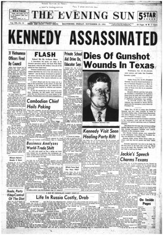 A front page of The Evening Sun from Nov. 22, 1963, with early news of Kennedy's assassination.