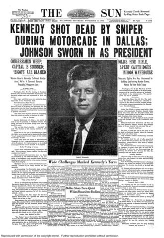 An early edition front page of The Sun, which published the morning of Nov. 23, 1963.