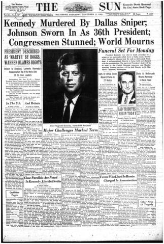 A late edition of The Sun published on Nov. 23, 1963.