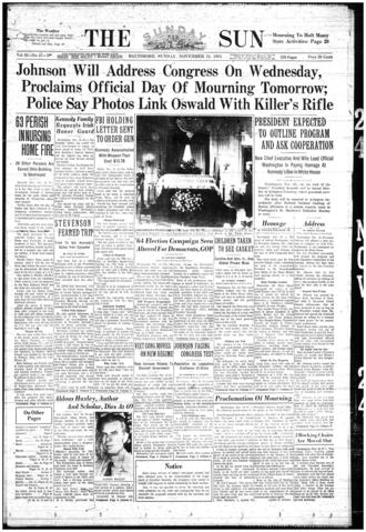 The front page of The Sunday Sun on Nov. 24, 1963.