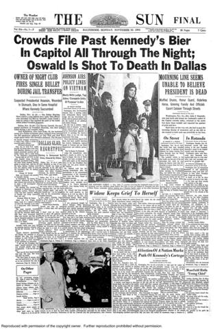The front page of the final edition of The Sun on Nov. 25, 1963.