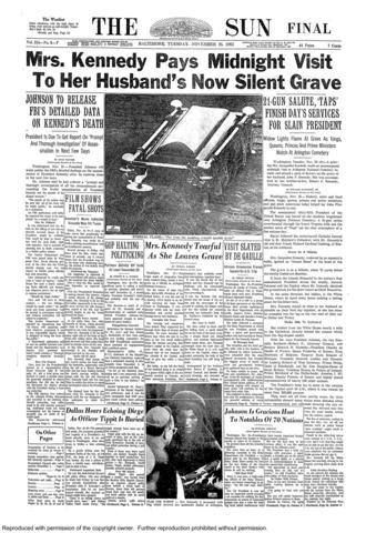The front page of The Sun from Nov. 26, 1963.