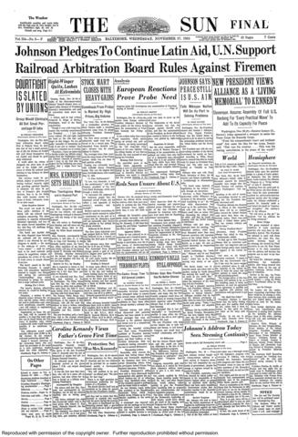 The front page of the final edition of The Sun on Nov. 27, 1963.