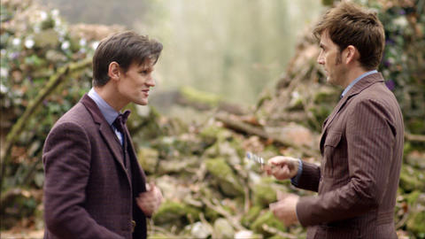 The 11th Doctor (Matt Smith, left) and the 10th Doctor (David Tennant)