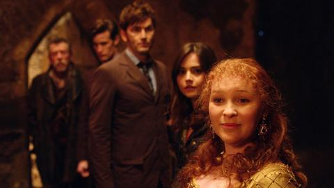 Queen Elizabeth (Joanna Page, right), three Doctors and Clara (Jenna Coleman)