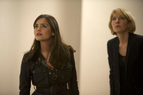 """Jenna Coleman as Clara and Jemma Redgrave as Kate Stewart in """"The Day of the Doctor."""""""