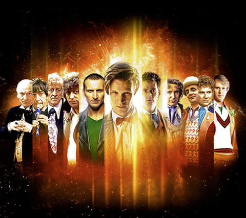 The First Doctor (William Hartnell), the Second Doctor (Patrick Troughton), the Third Doctor (Jon Pertwee), the Fourth Doctor (Tom Baker), the Ninth Doctor (Christopher Eccleston), the Eleventh Doctor (Matt Smith), the Tenth Doctor (David Tennant), the Eighth Doctor (Paul McGann), the Seventh Doctor (Sylvester McCoy), the Sixth Doctor (Colin Baker), the Fifth Doctor (Peter Davison).