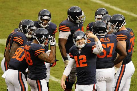 Chicago Bears quarterback Josh McCown (12) communicates with the bench in the second quarter.