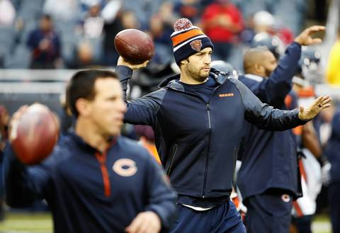 Injured Chicago Bears quarterback Jay Cutler during warm-ups before the Bears take on the Baltimore Ravens at Soldier Field.