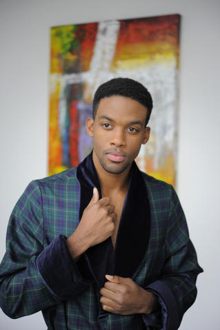 Chris: Wool dressing robe by Edward Armah, $595, Gian Marco Menswear.