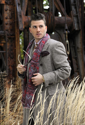 Tim: Dolce Punta silk tie, $165, V. Barberis suit, $975, wool topcoat, $1,850; pocket circle, $95, and scarf, $250, both by Edward Armah; all from Gian Marco Menswear.