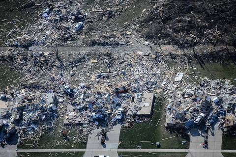 Houses destroyed by the tornado in Washington, Ill.