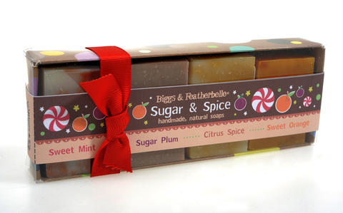 The Baltimore-made Holiday Soap Collection from Biggs & Featherbelle has four scents including sugar plum with balsam and lime. Great as a stocking stuffer, a hostess gift, or an addition to a basket with other spa delights. $9.99 at Wegmans