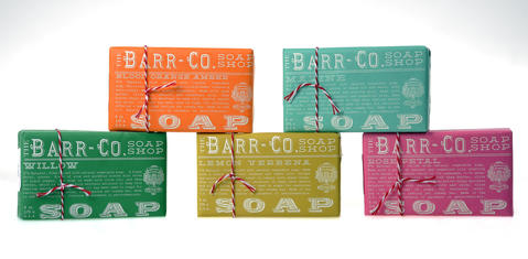 Sweetly packaged with a red and white twine bow, the brand new Barr-Co. Soap Shop line is 97 percent natural Shea butter. We love the graphics and the five fragrances. $9.50 each at Sweet Elizabeth Jane