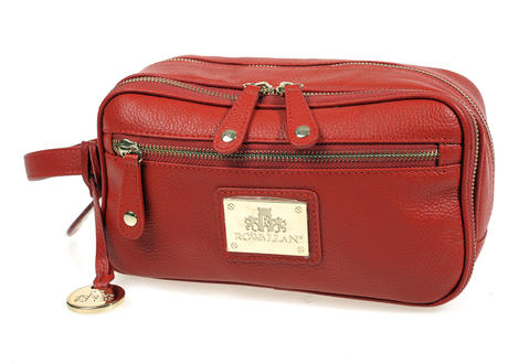 "Toiletries travel in style with this Rowallan ""Abbey"" leather case. $120 at Greetings & Readings"