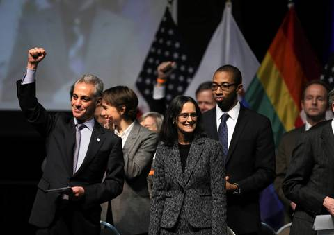 Chicago Mayor Rahm Emanuel acknowledges the crowd gathered at the UIC Forum before Illinois Gov. Pat Quinn signs a measure into law that makes Illinois the 16th state to legalize gay marriage.