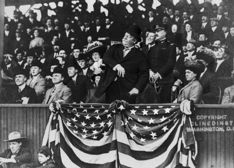 William Howard Taft throws out the first pitch at a game in 1910.