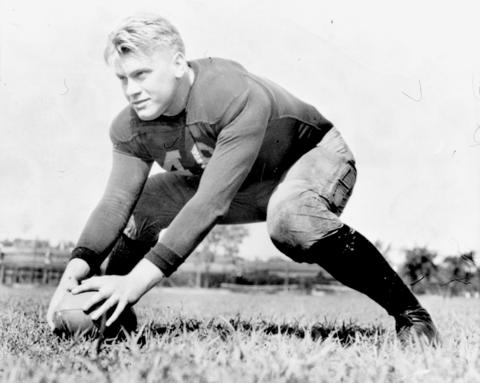 Gerald Ford won three varsity letters as a lineman at the University of Michigan in the 1930s.