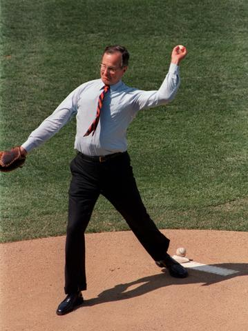 George H.W. Bush throws out the first pitch of Opening Day in Baltimore in 1989.