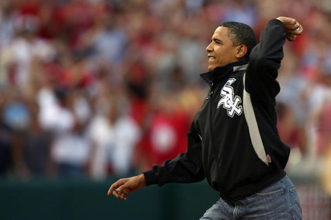 Barack Obama throws out the ceremonial first pitch at the 2009 All-Star Game at Busch Stadium in St. Louis.