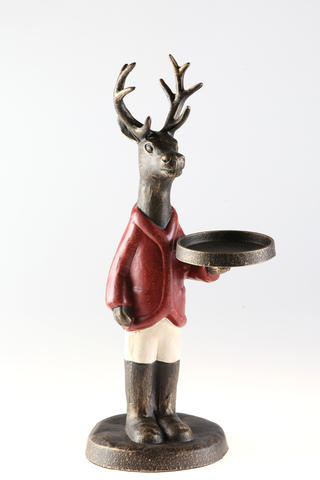 Designed to hold a pillar candle, this deer in jockey attire looks fetching even when he's not put into service. $38. One of many Hunt Country themed items at Ladew Topiary Gardens gift shop, open Dec. 13-15.