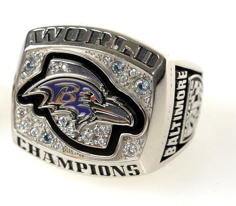 If you like him, why not put a ring on it? This Ravens championship ring has sparkle and shine and it's just one of many to chose from. $250-$4,000, depending on size and weight, at Smyth Jewelers.
