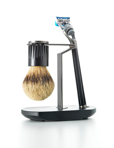 A splurge for the discerning man, the Chelsea Collection by The Art of Shaving comes with a badger brush, and a stand with fluted metal gripping and polished nickel-plated detailing. $425 at The Art of Shaving
