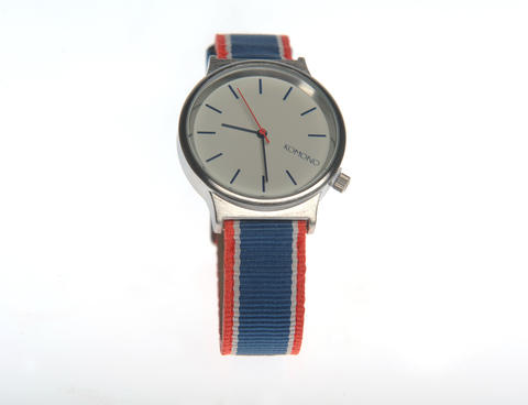 Komono Wizard Silver Marine Watch with leather-backed nylon ribbon band and brushed metal case. $75 at South Moon Under.
