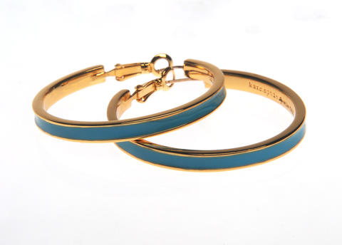 Kate Spade turquoise-filled 14K gold hoops. $68. From Handbags in the City.