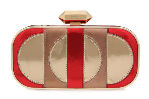This red and gold clutch from Badgley Mischka is a top-of-the line accessory that would be great for a night out during the holiday season. $295 at Treasure House in Owings Mills.