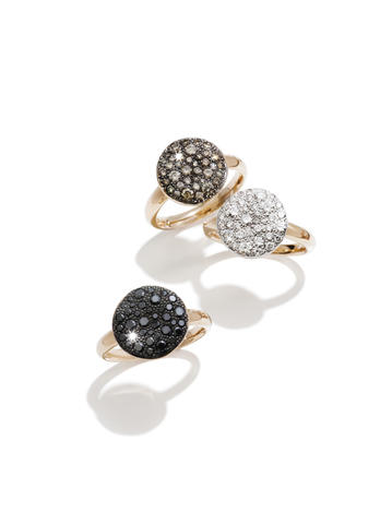 These 18K rose gold rings from the Pomellato Sabbia Collection feature white, black or brown diamond pavé. $2,650 to $5,800 at Radcliffe Jewelers.