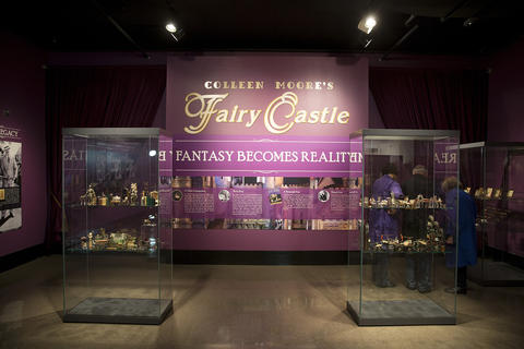 """Individual pieces on display from """"Colleen Moore's Fairy Castle"""" at the Museum of Science and Industry."""