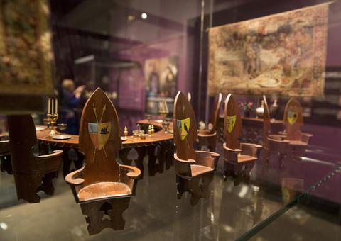 """Items on display from """"Colleen Moore's Fairy Castle"""" at the Museum of Science and Industry."""