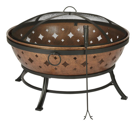 Roast marshmallows in the backyard with the Living Accents Noma Fire Pit. The cooper and steel constructed bowl is covered by a screen to prevent embers from flying. $149.99 at Clarks Ace Hardware